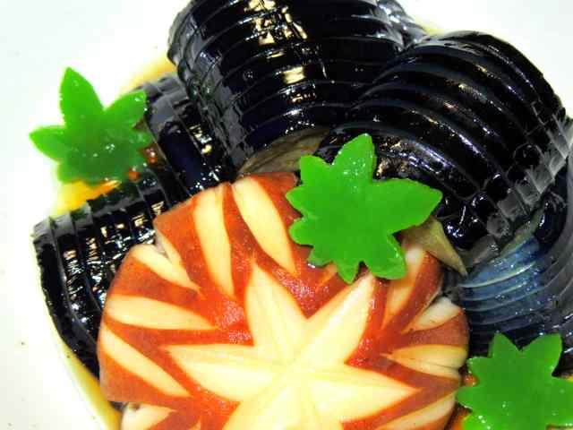 茄子と椎茸,の煮物,しいたけの飾り切り