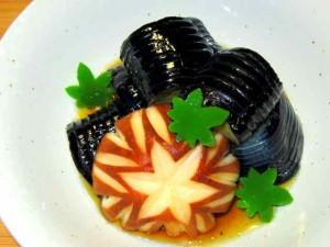 茄子の揚げ煮,なすのオランダ煮と飾り切り椎茸