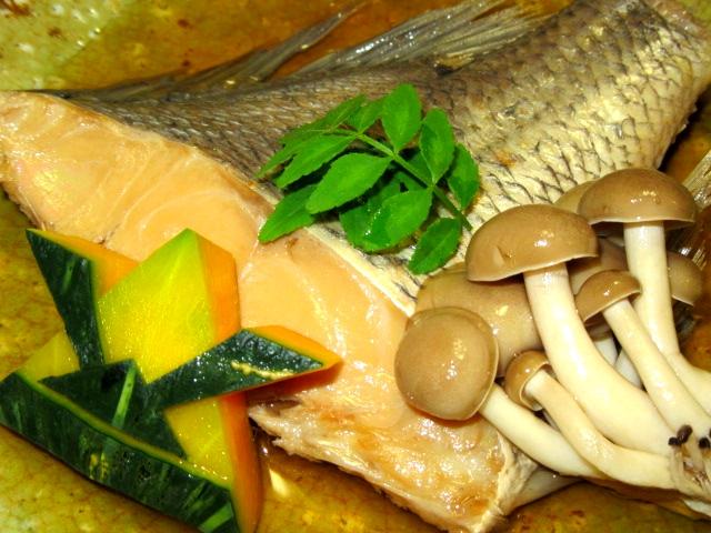 たいの煮物の献立,鯛あっさり煮,かぶと南瓜,占地