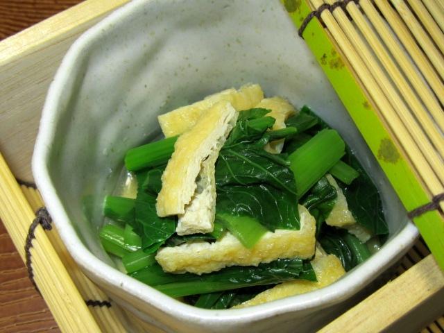 小松菜を使った八方だしの煮物,こまつなのあげ煮画像