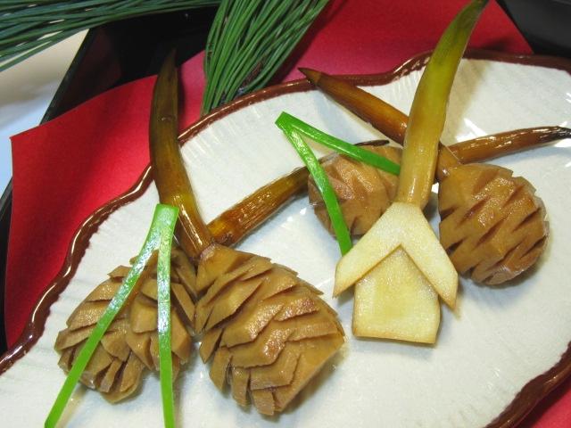 おせち料理の松笠慈姑,まつかさくわい,冬の献立と正月