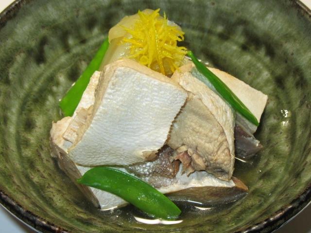 ぶりと白菜の煮物,絹さやと針ゆず