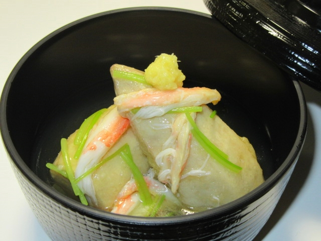 海老芋のうま煮のかに身あんかけ,冬の煮物の献立