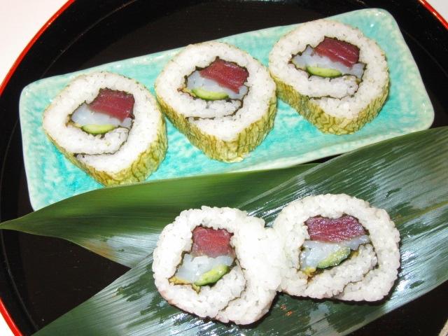 うら巻き寿司の作り方手順と三色巻き寿司の盛りつけ例