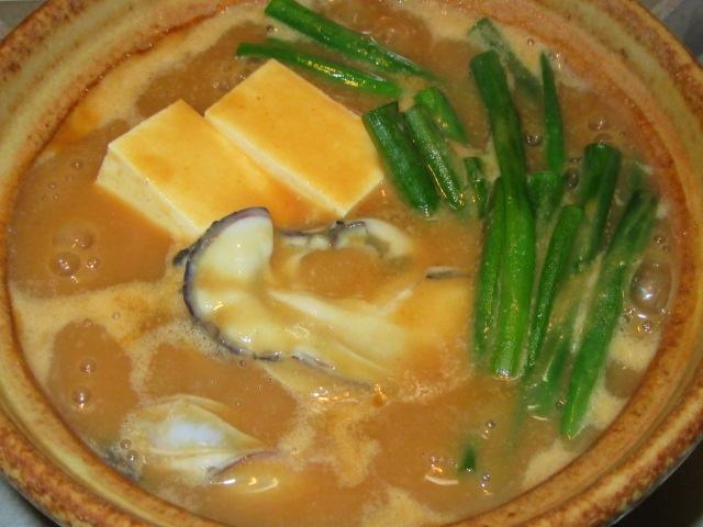 かきの土手鍋の作り方と合わせみその割合,豆腐と青ねぎ