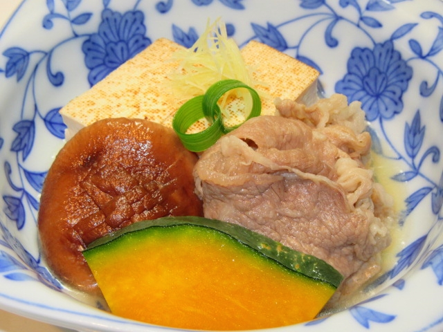 牛肉と焼き豆腐の煮物の作り方手順,盛りつけ例