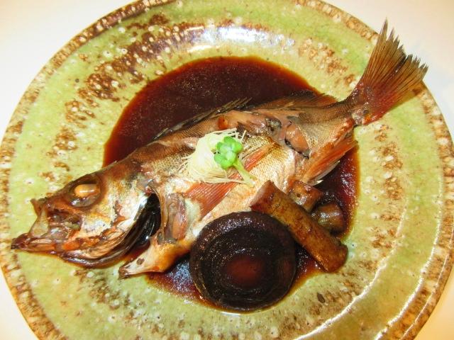 めばるの煮つけ,煮魚の作り方と割合,椎茸,ごぼう,針しょうが,貝割れ大根,煮物の献立