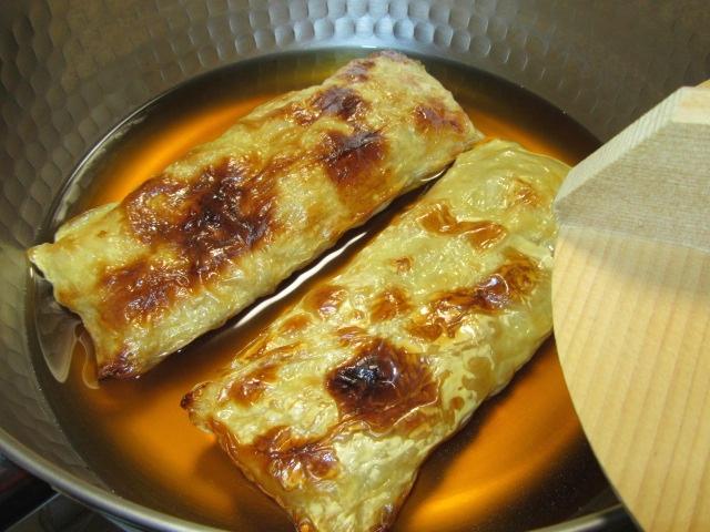 焼き目湯葉の煮物の作り方,煮汁の黄金比,落とし蓋をかぶせる工程