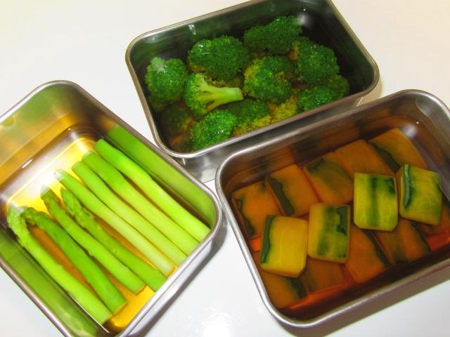 青味野菜の下処理方法とかぼちゃの味つけ,アスパラ,ブロッコリー