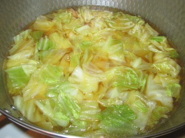 キャベツと厚揚げの煮物作り方手順