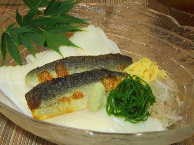 あゆ素麺の盛りつけ例